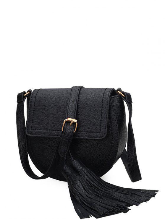 shop Tassels Covered Closure PU Leather Crossbody Bag - BLACK