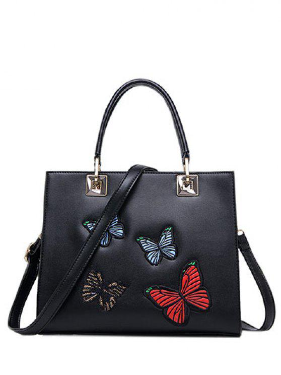 affordable Butterfly Pattern Embroidery Metal Tote Bag - BLACK