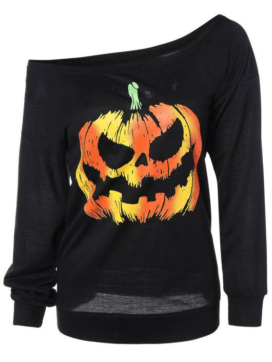 chic Skew Neck Pumpkin Sweatshirt - BLACK 3XL