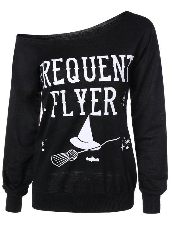 outfits Letter Skew Neck Sweatshirt - BLACK M