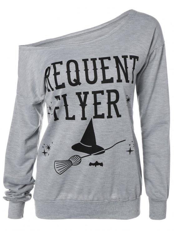 shops Letter Skew Neck Sweatshirt - GRAY 3XL