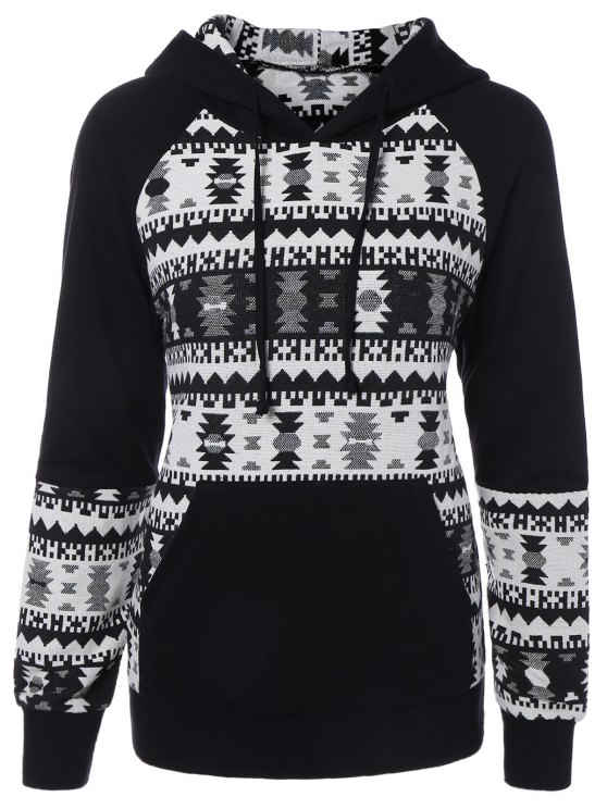 women's Front Pocket Jacquard Pullover Hoodie - WHITE AND BLACK 2XL