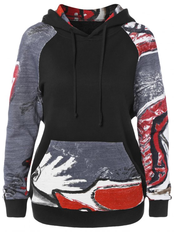 hot Front Pocket Printed Pullover Hoodie - BLACK L