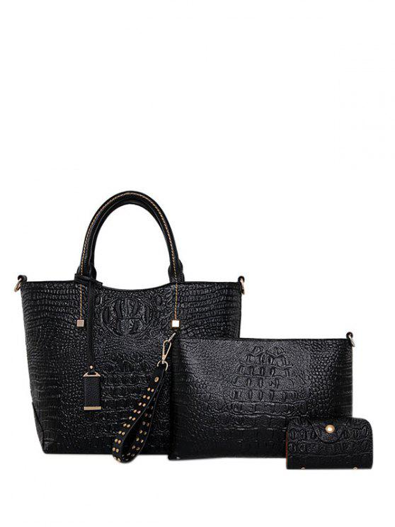 Tote Bag in pelle goffrata Zipper PU - Nero