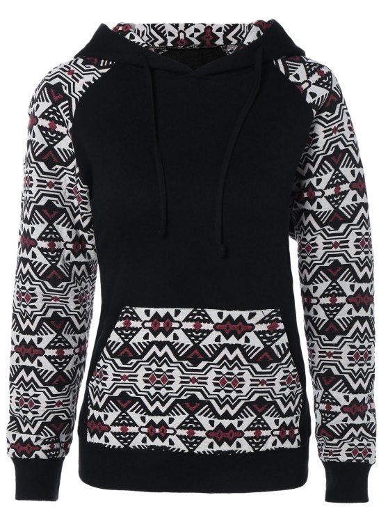 trendy Pullover Front Pocket Hoodie - BLACK AND WHITE AND RED 2XL