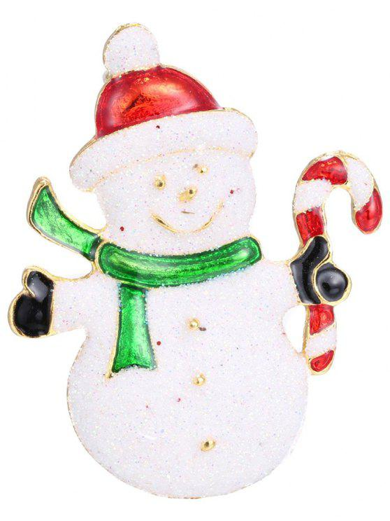 women Alloy Christmas Candy Cane Snowman Brooch - WHITE