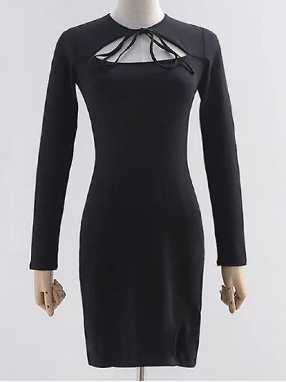 Ausschnitt langes Hülsen-Schlitz-Kleid - Schwarz S