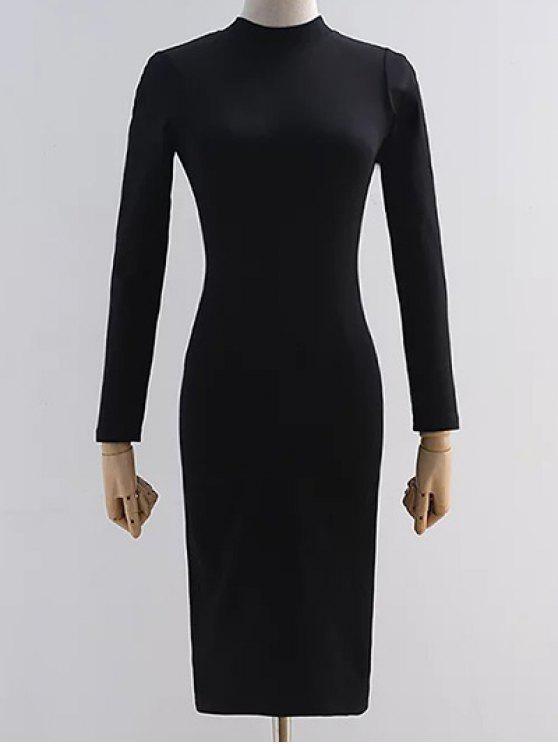 Back Ausschnitt Pencil Dress - Schwarz M