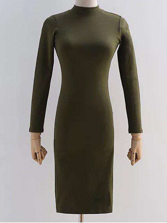 Vestido trasero del lápiz del recorte - Verde del ejército S
