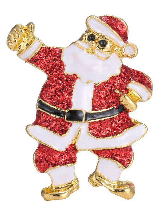 ladies Alloy Sequins Santa Christmas Embellished Brooch - RED
