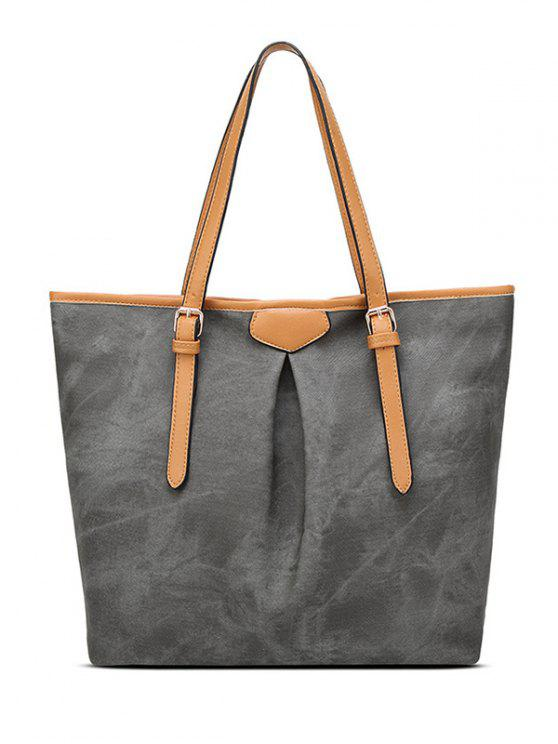 fancy Buckles Zip PU LeatherShoulder Bag - DEEP GRAY