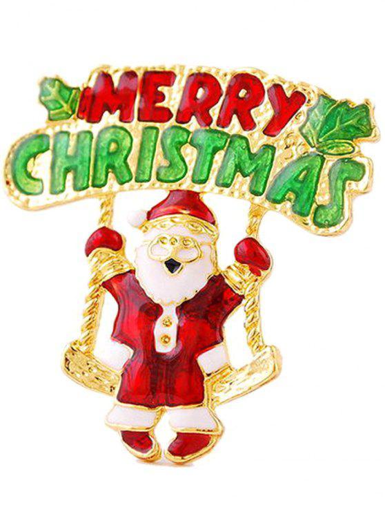 Sankt-Baum-Blatt Frohe Weihnachten Brosche - Golden