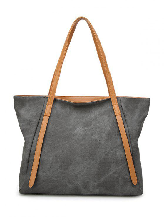 La bolsa de costura de color empalme de hombro de cuero de PU - Gris Oscuro
