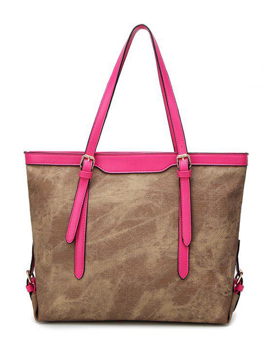 women Metallic PU Leather Buckle Shoulder Bag - DARK APRICOT