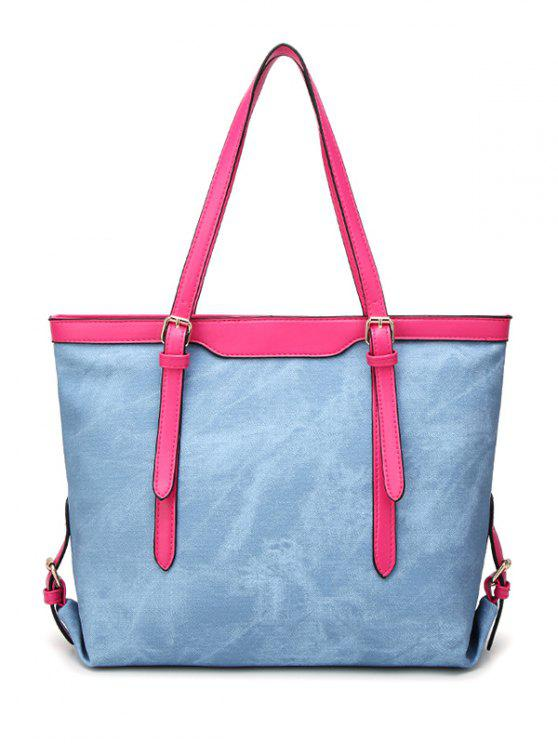 women's Metallic PU Leather Buckle Shoulder Bag - LIGHT BLUE