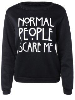 Letters Print Pullover Sweatshirt - Black S