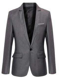 Lapel Collar Single Button Slim Fit Blazer - Gray L