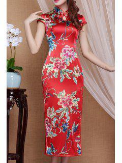 Flower Print Slit Qipao Dress - Red S