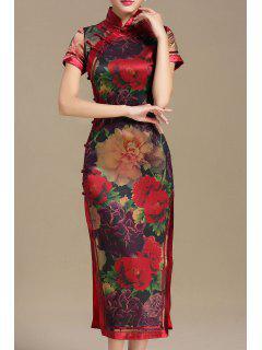 Flower Midi Slit Qipao Dress - Red 2xl