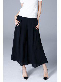 Pleated Cropped Pants - Black L