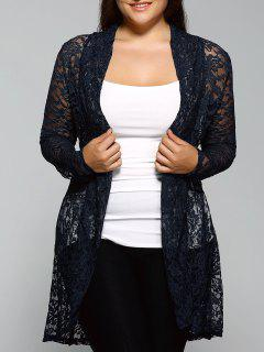 Collarless Plus Size Cut Out Lace Blouse - Cadetblue 3xl