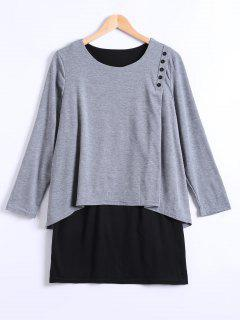 Long Sleeves Asymmetric Faux Twinset T-Shirt - Light Gray 2xl