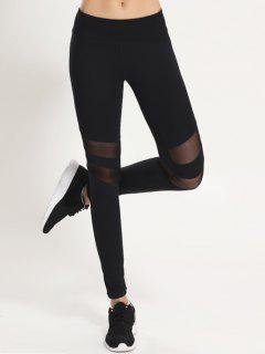 Mesh Panel Leggings - Schwarz S