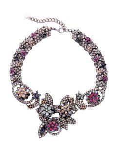 Flower Pattern Rhinestone Chunky Choker Necklace