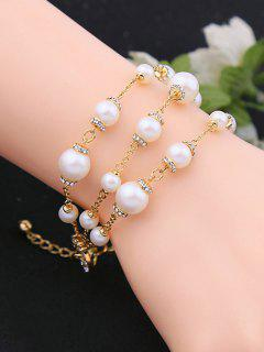 Adjustable Rhinestone Artificial Pearl Bracelet - White