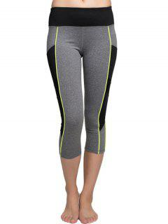 Color Block Capri Leggings - Black And Grey S