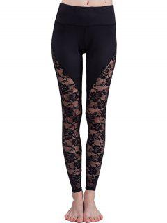 See-Through Lace Leggings - Black S