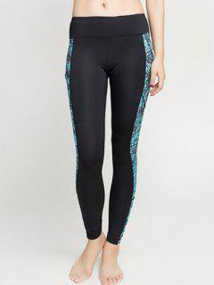 Panelled Ankle Leggings - Turquoise L