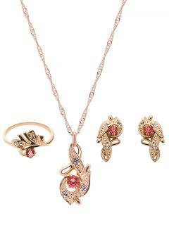 Rhinestone Flower Leaf Jewelry Set - Golden
