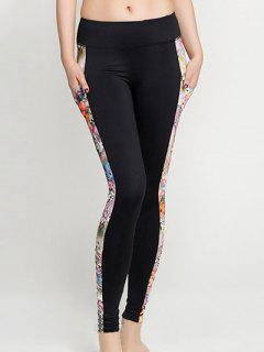 Python Print Panel Gym Leggings - Orangepink S