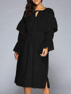 Flare Manches Col V Midi Dress - Noir