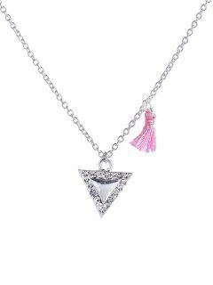 Troddel-Entwurfs-Dreieck Anhänger Mit Halskette - Silber