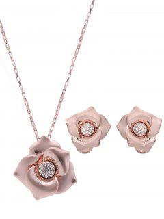 Flower Jewelry Set - Rose Gold