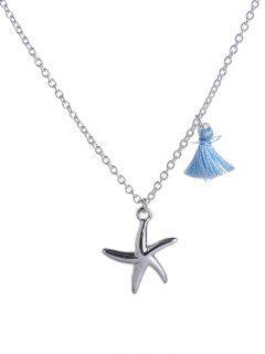 Tassel Design Starfish Pendant Necklace - Silver