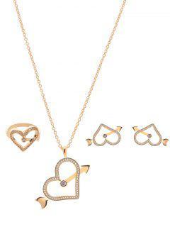 Rhinestone Arrow Heart Jewelry Set - Golden