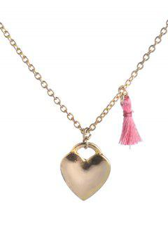Tassel Design Heart Pendant Necklace - Golden