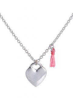 Tassel Design Heart Pendant Necklace - Silver