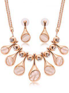 Faux Opal Fringe Jewelry Set - Golden