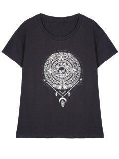 Retro Totem Print T-Shirt - Gray S