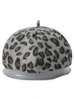 Leopard Felt Beret - Light Gray