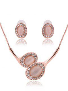 Faux Opal Oval Jewelry Set - Rose Gold