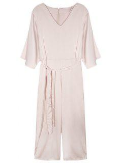 Flare Sleeve Belted Jumpsuit - Nude Pink S