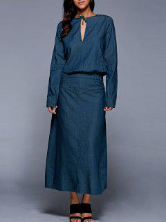 Long Sleeve Maxi Denim Blouson Robe - Bleu S