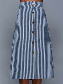 Single-Breasted Striped Skirt - Blue Gray S