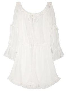 Off The Shoulder En Mousseline De Soie Romper - Blanc M