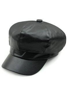Monotonous PU Newsboy Hat - Black